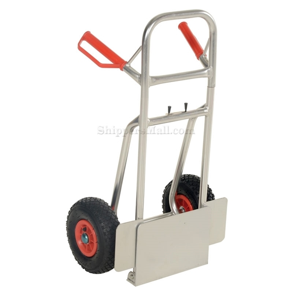 Folding dolly with Pneumatic wheels. Nose plate folds up to make it more flat. Part #: DHHT-250A-FD-PNF