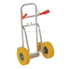 Folding dolly with urethane flat free wheels. Nose plate folds up to make it more flat. Flat-Free with Yellow Urethane Tires DHHT-250A-FD-UYF