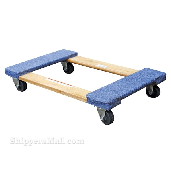Wood dolly with carpet on the ends. Weight capacity: 1200 lb. Part #: HDOC-2448-12
