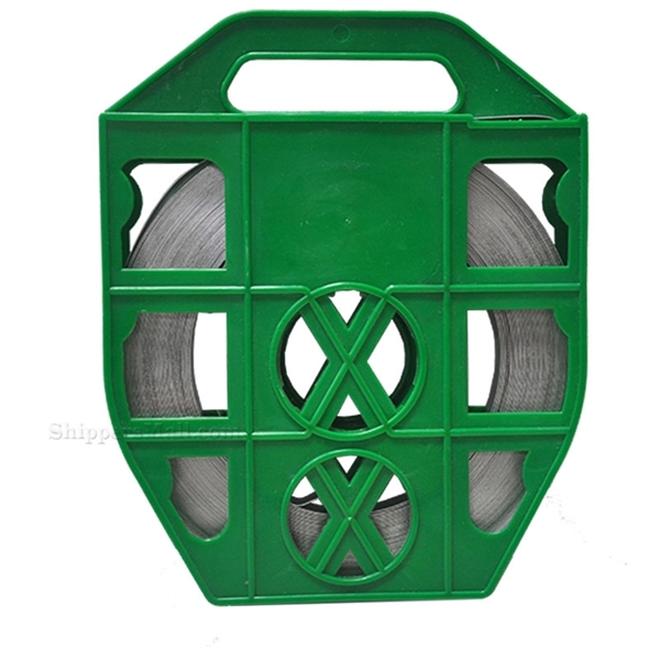"""Stainless Steel Band 5/8"""" x 0.030"""" x 100' - Green Plastic Dispenser ready to use strapping. MFG#: FTA630715835PG"""