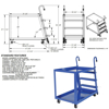 Stock Picker cart with 2 shelves, size 28 X 48 with molded rubber casters. , part #: SPS2-2848 Drawing