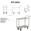 Two Tier Service Cart 18 X 35 Deck for industrial use or factories great for food industry. - Model #: STC-1835 DRAW
