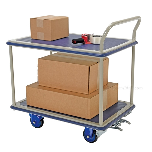 "Platform Cart with Double Deck & Foot Brake, Deck size: 24"" X 34"""