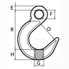 Peer-Lift Eye Foundry Hook (Grade 80), Chain Rigging Component,  drawing