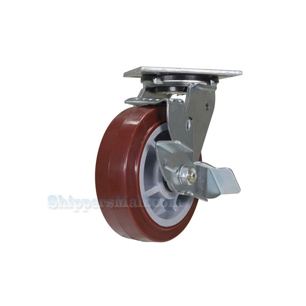 High quality Caster, for industrial use, polyurethane casters (maroon tread), Model; CST-C44-PU-GRP