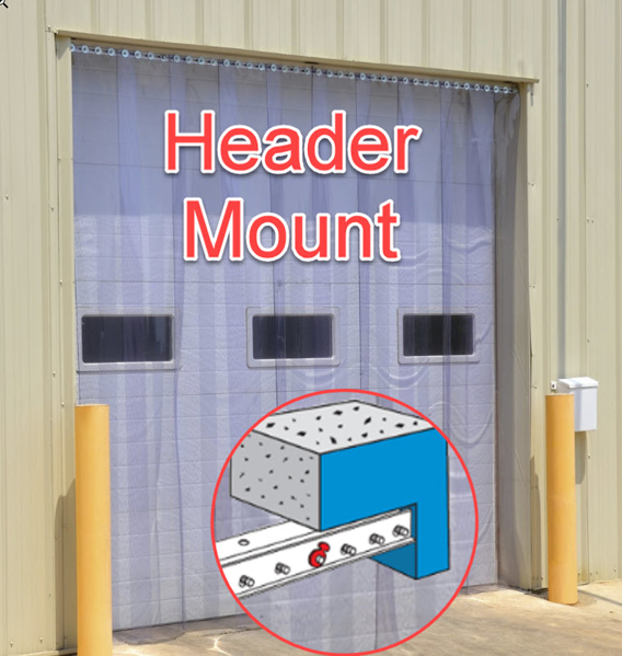 Complete vinyl strip door, Header Mount, Standard Overlap