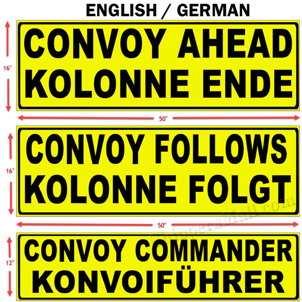 English / German Military Convoy Signs