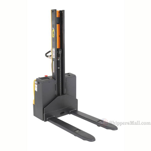 """Narrow Mast Stacker with Powered Drive and Powered Lift 62"""" High, 2200 lb., Cap., 27"""" Forks"""