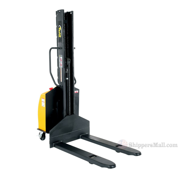 Narrow Mast Semi-Electric Stacker with Fixed Fork, 1500 lb. Capacity - SLNM15-63-FF