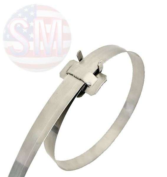 """Stainless steel band with Ear-Lokt Buckle, Type SS 304 in assorted lengths. 1/2"""" wide"""